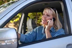 distracted driver on a cell phone