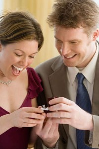 man presenting a woman with a ring