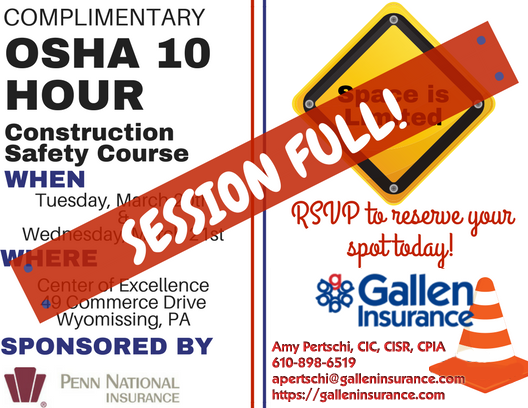 OSHA 10 Hour Construction Safety Course Full!