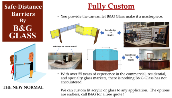 B&G Glass has developed three tiers of Safe-Distance Barriers.