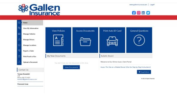 Gallen Insurance Client Services Online Portal Screenshot