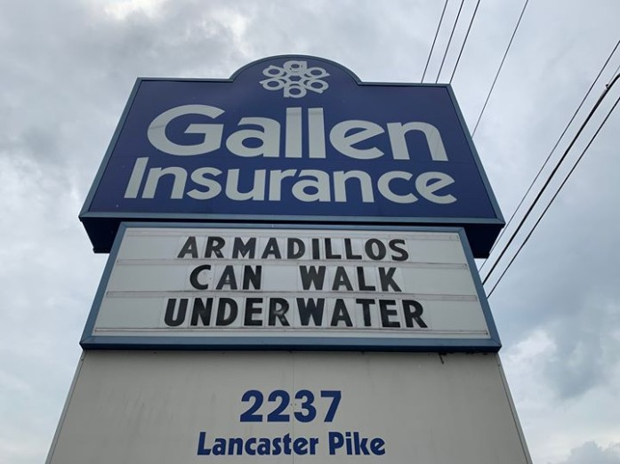 Armadillos can walk underwater! The Gallen Insurance Sign - June 18, 2020.