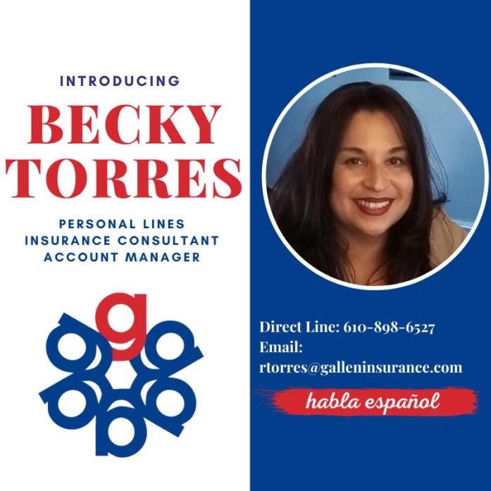 Becky Torres has joined Gallen Insurance