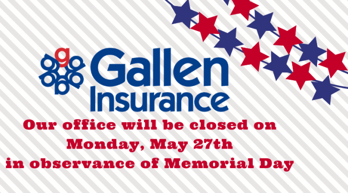 Our office will be closed on Monday, May 27th in observance of Memorial Day.