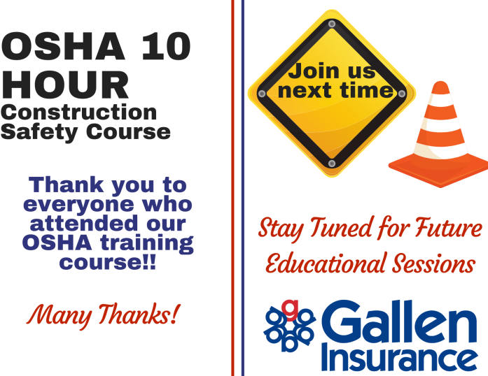 Thank you to everyone who attended our OSHA 10 safety course! Stay tuned for future educational sessions and join us next time!