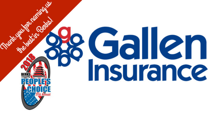 Thank you for naming Gallen Insurance the best in Berks!