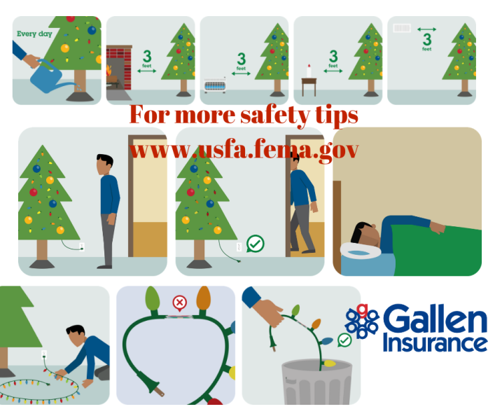 Holiday Fire Safety Tips - keep items away from heat sources, inspect lights before decorating & if using a live Christmas tree, water it every day!