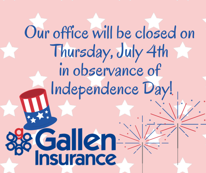 Our office will be closed on Thursday, July 4th in observance of Independence Day
