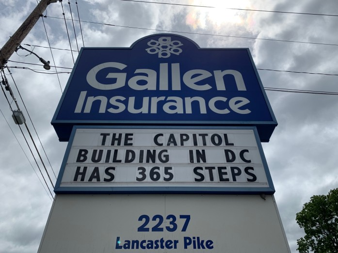 Gallen Insurance Sign, June 24 2019 - The Capitol Building in DC has 365 steps