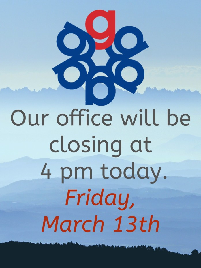 Our office will be closing at 4pm today on Friday the 13th