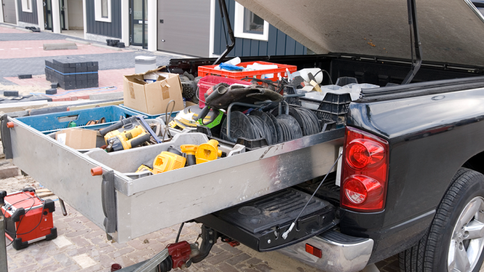 An open pickup truck tool box can often lead to tool theft