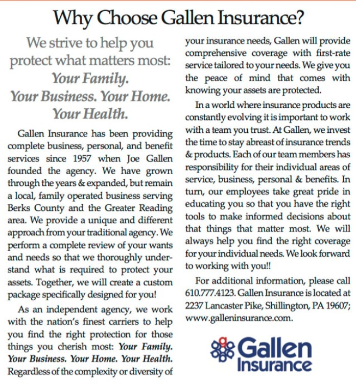 Check out our article in 422 Business Advisor's February issue which discusses why you should choose Gallen Insurance for all your insurance needs!