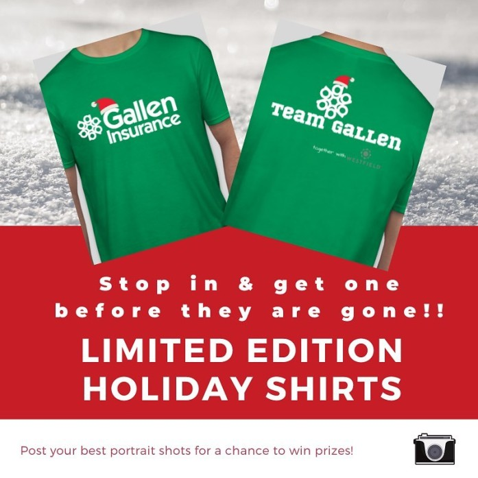 Gallen Insurance holiday shirts are here, they're exclusive and they're limited edition! Hurry in and grab yours today! Be sure tag us or send your pics!