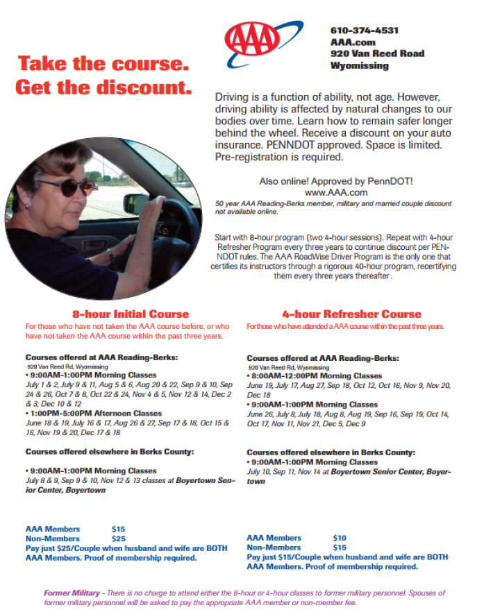 some auto insurance companies offer discounts to Seniors for taking a driver safety course