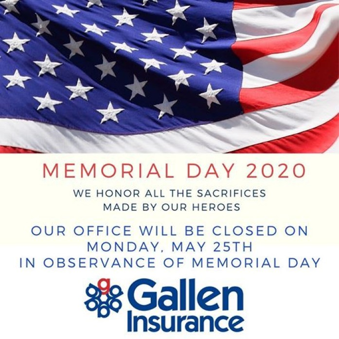 Our office will be closed on Monday, May 25th in observance of Memorial Day.