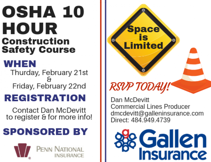 Our 2019 OSHA 10 training dates are now available