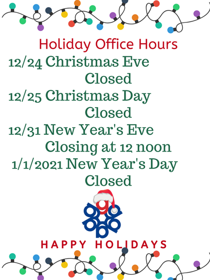 Gallen Insurance 2020 Holiday Office Hours