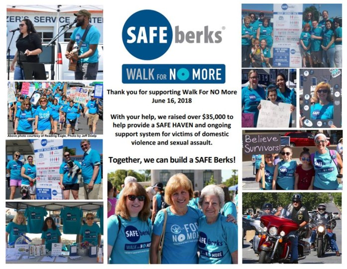 Safe Berks walk for no more postcard